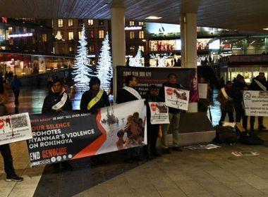 محتجون في السويد يطالبون بوقف إبادة الروهنغيا في ميانمار