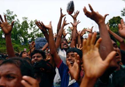 محتجون بوذيون يحاولون منع شحنة مساعدات من الوصول إلى مسلمي الروهينجا في أراكان