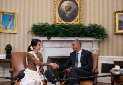 """أوباما يستقبل """"سوشي"""" ويرفع العقوبات عن بورما"""