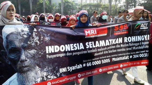 إلقاء زجاجة حارقة على سفارة ميانمار في إندونيسيا