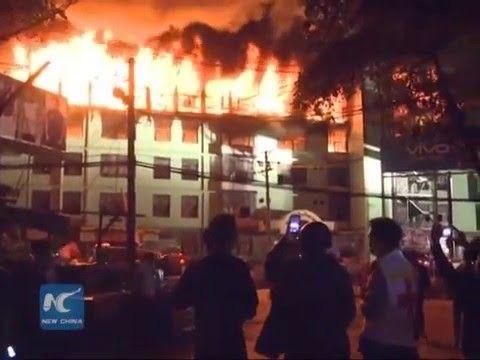 """دمار أكثر من 1600 متجر في حريق اندلع بسوق في """"رانغون"""" بميانمار"""