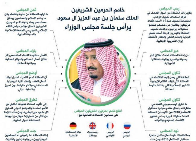مجلس الورزاء السعودي يجدد ما عبرت عنه المملكة من إدانة لما يتعرض له المسلمون الروهنجيون من مجازر وإبادة جماعية.
